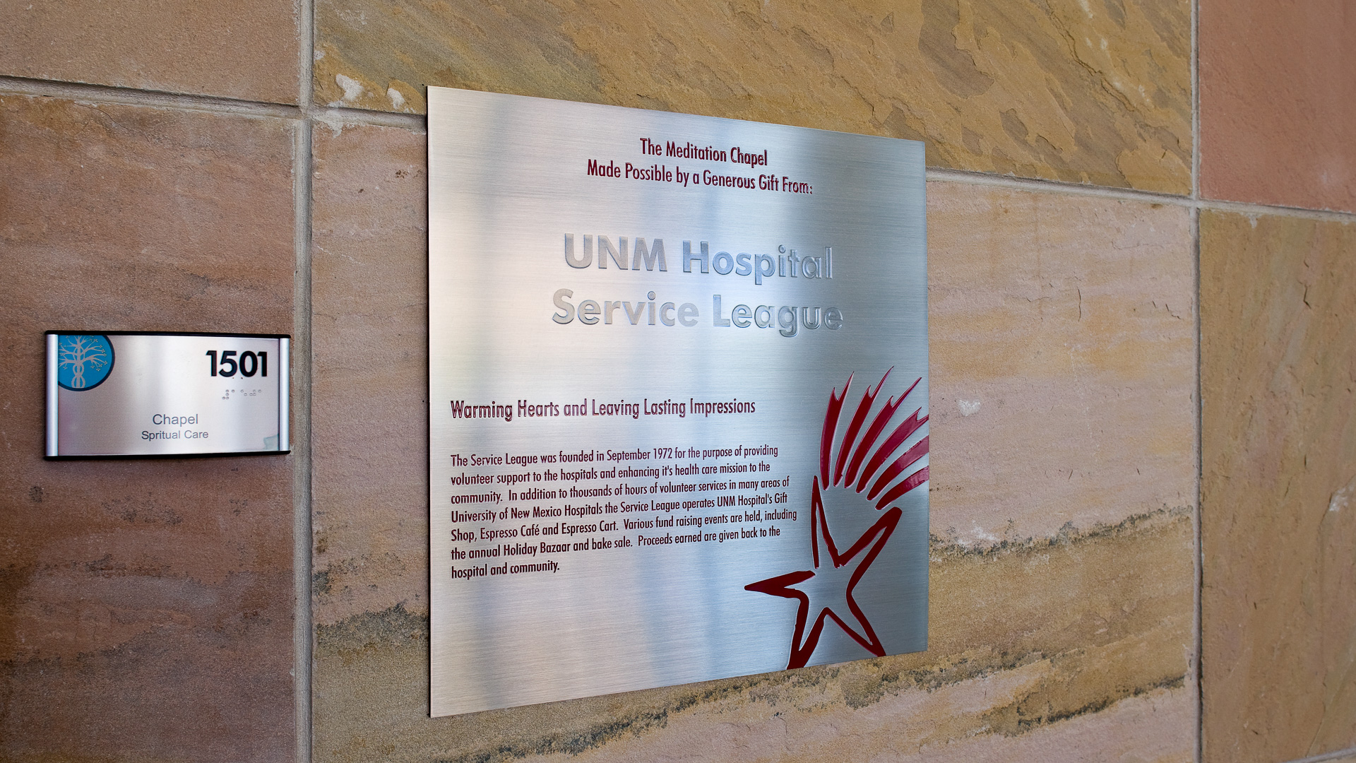 UNMH Donor Plaque Etched Stainless Steel
