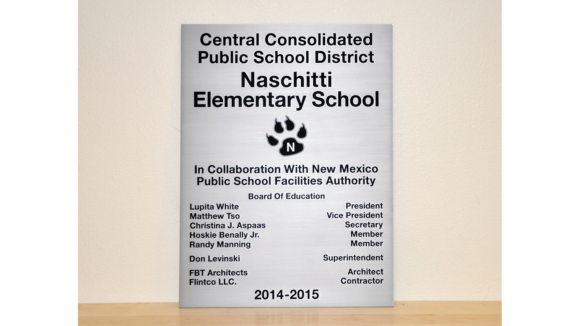 Naschittie Elementary Plaque Stainless Steel Etched